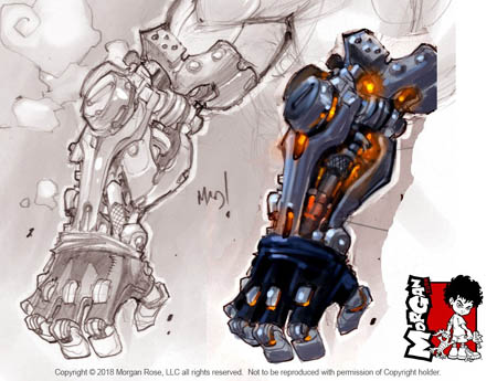 The Iron Saint Mickael Iron mechanical arm sketch
