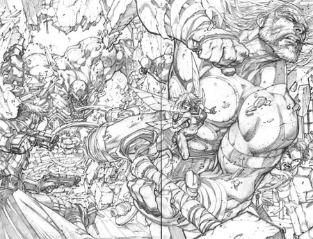 Ultimates 3 Vol3 #1 double page 2-3 (Pencil)