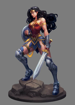 Wonder Woman justice league concept done for practice (Color)