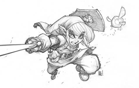 Link fanart from the video game Zelda. (Pencil)