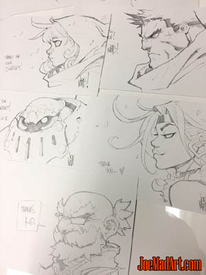 Battle Chasers Nightwar backers physical rewards: sketches set1