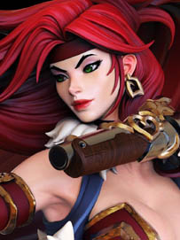 battle chasers red monika statue face by joe madureira and Jon troy hazardous nickel ihaztoys