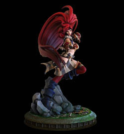 battle chasers red monika statue front view by joe madureira and Jon troy hazardous nickel ihaztoys