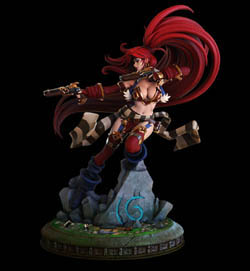 battle chasers red monika statue profile view by joe madureira and Jon troy hazardous nickel ihaztoys